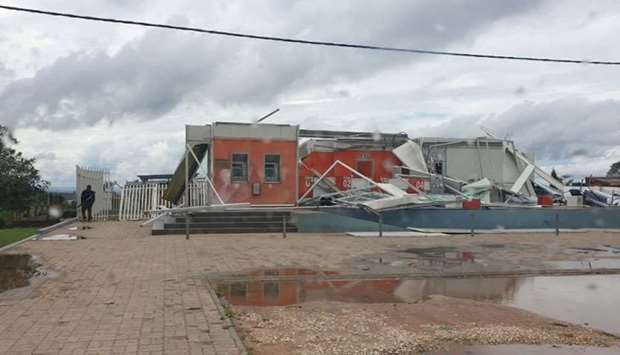 Damaged buildings seen after Cyclone Kenneth swept through region in Cabo Delgado province