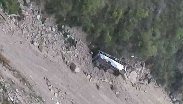 Bus falls into gorge