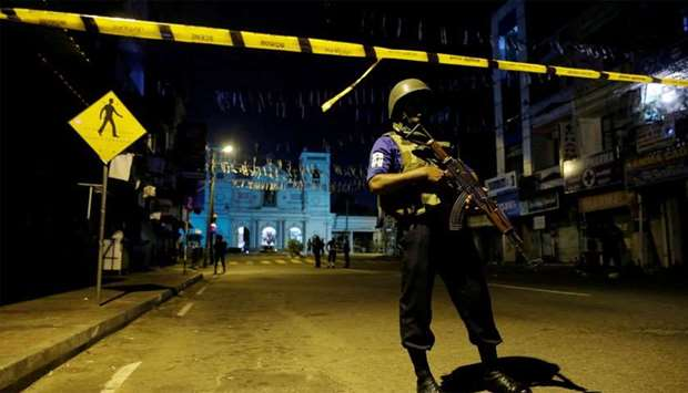 Security forces stand guard at St. Antony shrine
