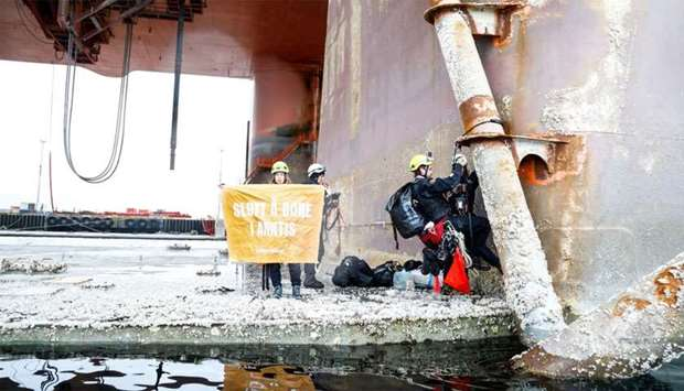 Greenpeace activists stay on the Equinor oil rig near Hammerfest, Norway