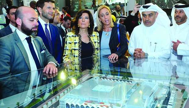HE the Minister of Commerce and Industry Ali bin Ahmed al-Kuwari, the Italian Senate President Maria