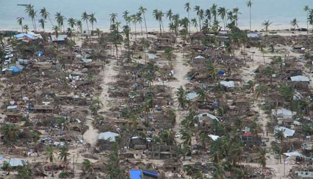 The aftermath of Cyclone Kenneth is seen in Macomia District, Cabo Delgado province, Mozambique