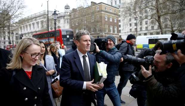 Britain's Labour Party's Shadow Secretary of State for Departing the European Union Keir Starmer and