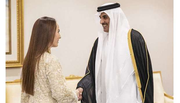 His Highness the Amir Sheikh Tamim bin Hamad al-Thani meeting with the President of the Inter-Parlia