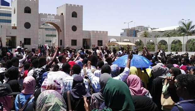 Sudanese protesters rally in front of the military headquarters in the capital Khartoum