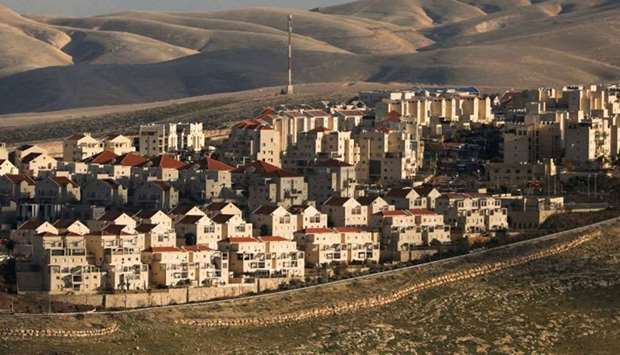 A general view shows houses in the Israeli settlement in the occupied West Bank