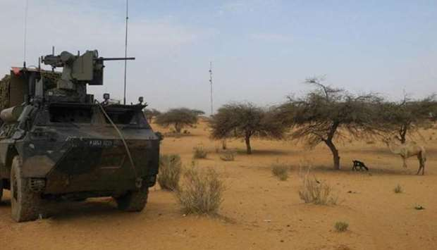 An armored vehicle of the French Barkhane force in Gossi, central Mali,