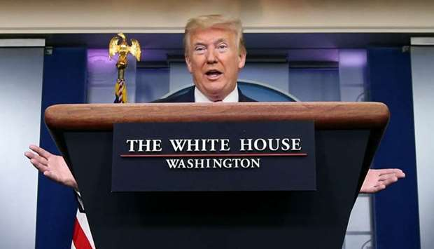 U.S. President Donald Trump speaks during the coronavirus response daily briefing at the White House