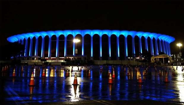 Landmarks and buildings across United States are displaying blue lights to show support for health c