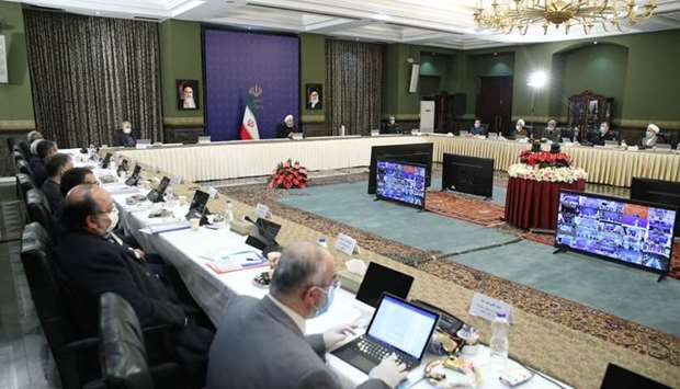 Iranian President Hassan Rouhani chairing a cabinet session in the capital Tehran