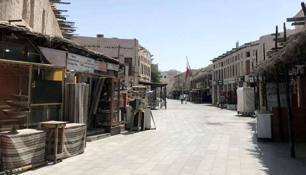 A view shows Souq Waqif almost empty, following the outbreak of coronavirus
