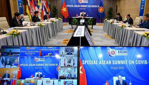 Vietnam's Prime Minister Nguyen Xuan Phuc addresses a special video conference with leaders of the A