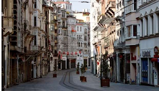 A general view shows the deserted Istiklal Street during a two-day curfew which was imposed to preve