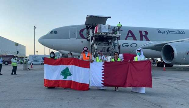 Qatari and Lebanese officials mark the occasion.