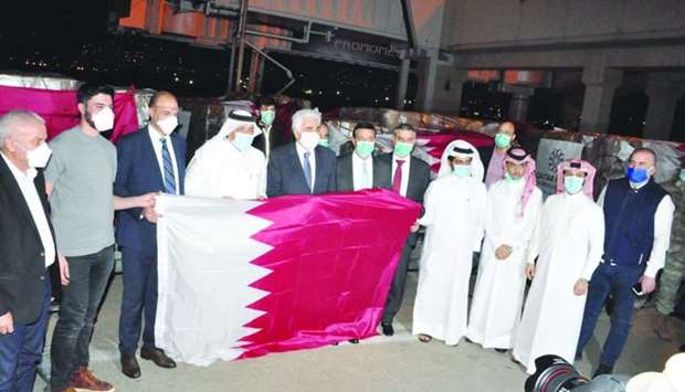 Medical aid shipment sent to Lebanon by the Qatar Fund for Development is being received