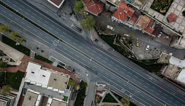 Empty road leading to the golden horn in Istanbul, as Turkish government announced a two-day curfew