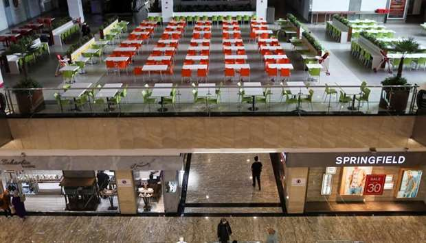 An empty a restaurant is seen at the mall, following the outbreak of the coronavirus disease, after