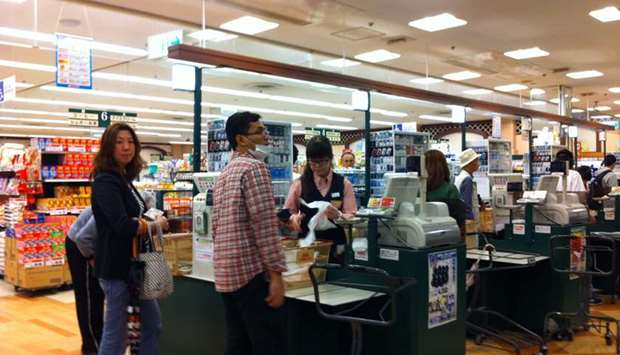 Shoppers at a supermarket