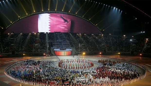 FILE PHOTO: A general view of the Khalifa Stadium with the Qatari flag being displayed on a screen d