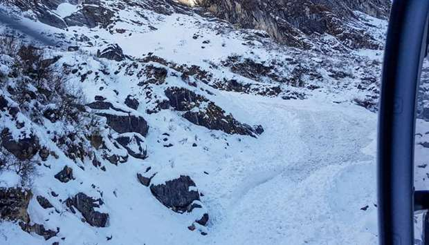 In this file photo taken on January 20, 2020, a general view shows from a helicopter the avalanche s