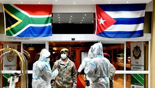 Cuban Health Specialists arriving at the Waterkloof Air Force Base in Pretoria, South Africa, to sup