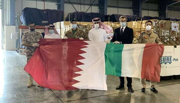 Medical aid has been sent to Italy on the directives of His Highness the Amir Sheikh Tamim bin Hamad