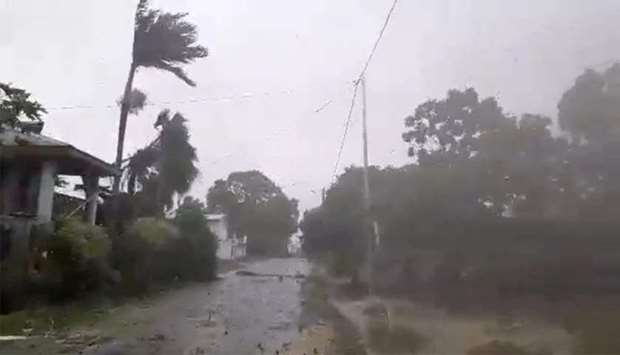 Cyclone Harold brings strong winds in Luganville, Vanuatu in this still image obtained from a social