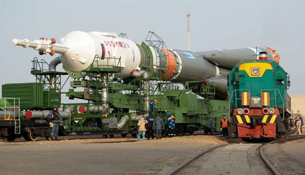 Soyuz MS-16 spacecraft is transported to the launch pad at the Russian-leased Baikonur cosmodrome in
