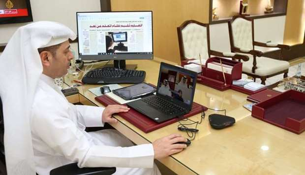 HE the Minister of Education and Higher Education Dr Mohammed bin Abdul Wahed Al Hammadi meets schoo