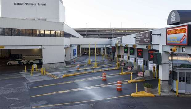 A view of the US-Canada border crossing from Detroit, Michigan.