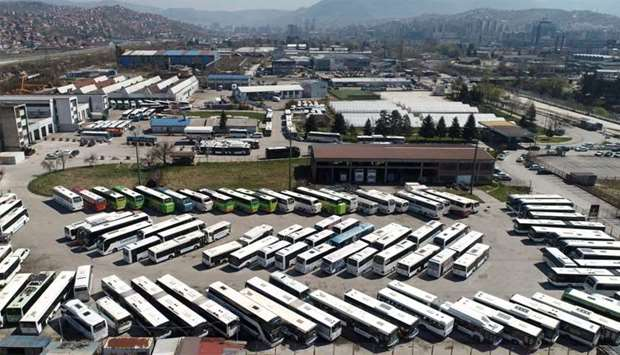 Aeiral image shows Centrotrans Eurolines busses parked in front company headquarter in Sarajevo