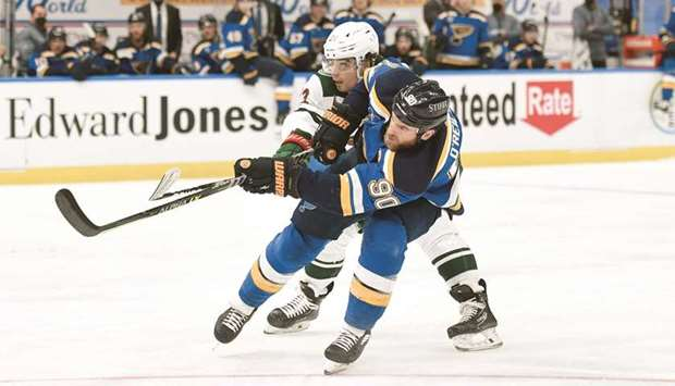 St Louis Blues center Ryan O'Reilly scores a short handed goal against the Minnesota Wild in the sec