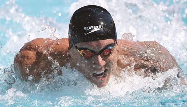 Caleb Dressel competes in the men's 100m butterfly final on Day Two of the TYR Pro Swim Series at Mi