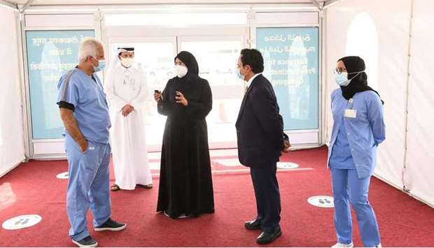 HE Dr. Hanan Mohamed Al Kuwari, Minister of Public Health, visits the new Covid-19 vaccination cente