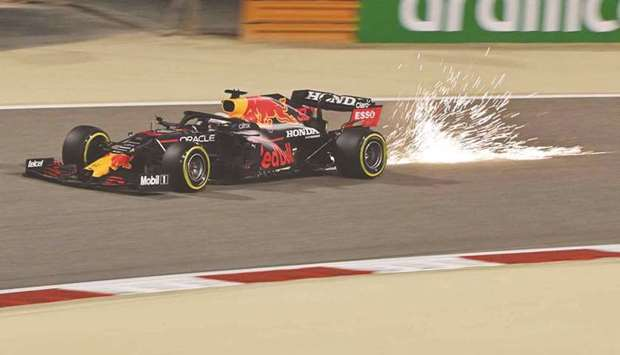 In this March 27, 2021, picture, Red Bull's Max Verstappen drives during the qualifying session for