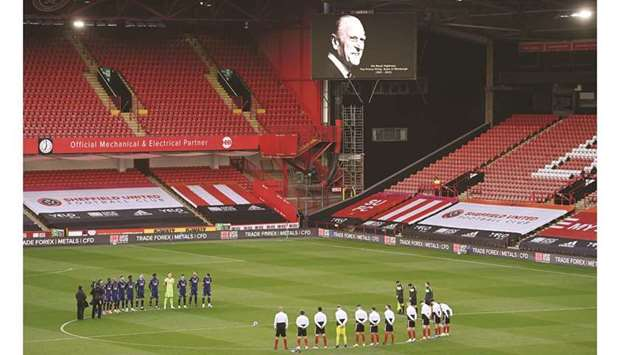 Sheffield United and Arsenal players observed a two-minute silence for Prince Philip prior to their