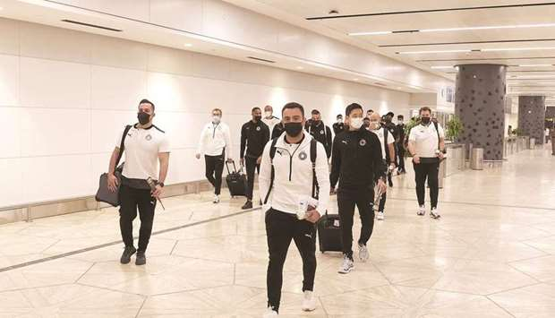 Al Sadd head coach Xavi Hernandez on their arrival in Riyadh on Sunday evening.