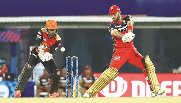 Royal Challengers Bangalore's Glenn Maxwell (right) in action against Sunrisers Hyderabad on Wednesd