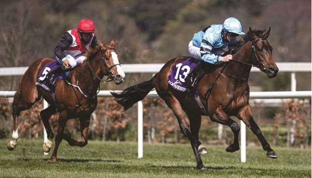 Declan McDonogh (right) rides Southern Lights to victory in the Leopardstown Annual Members (C&G) Ma