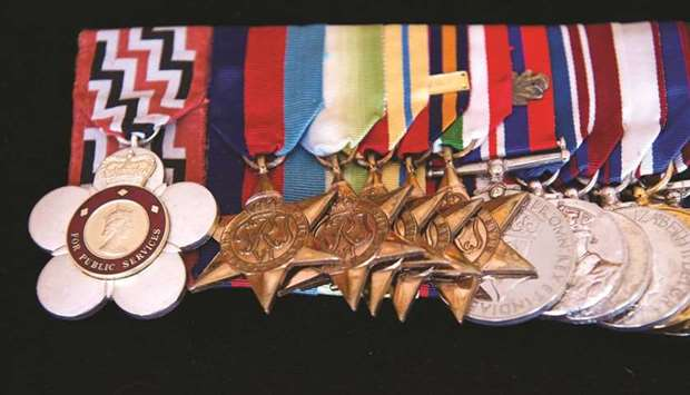 A view of the Duke of Edinburgh's medals sewn onto a cushion at St James's Palace in London yesterda