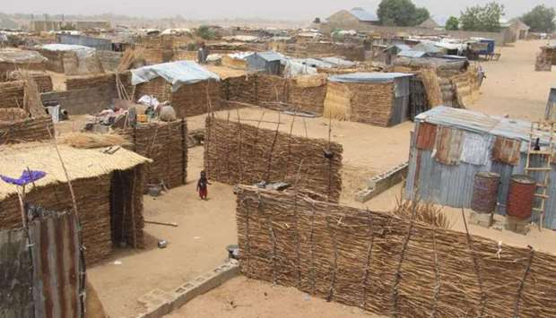 A general view of Yawuri informal camp on the outskirts of Maiduguri, capital of Borno state, on Mar