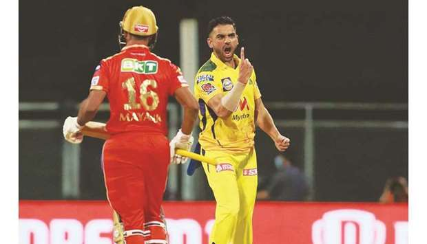 Deepak Chahar (right) of Chennai Super Kings celebrates after taking the wicket of Mayank Agarwal of