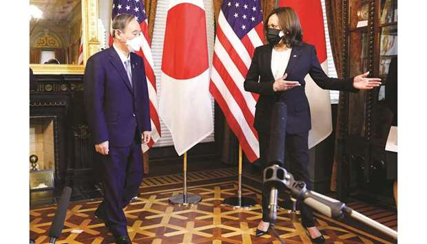 US Vice-President Harris with Japanese Prime Minister Suga in her ceremonial office in the Eisenhowe