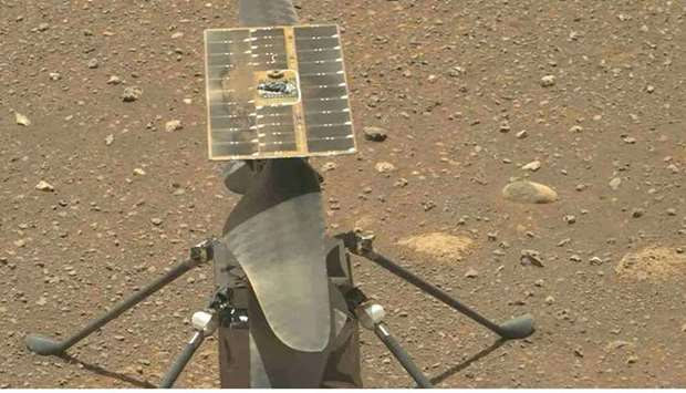 NASA's Ingenuity Mars Helicopter's carbon fiber blades can be seen in this video taken by the Mastca