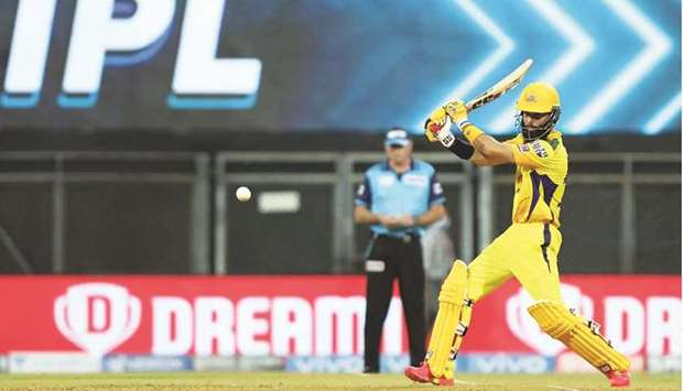 Moeen Ali of Chennai Super Kings plays a shot during the Indian Premier League match against Rajas