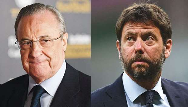 Real Madrid's president Florentino Perez (left) and his Juventus counterpart Andrea Agnelli. (AFP)