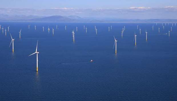 General view of the Walney Extension offshore wind farm operated by Orsted off the coast of Blackpoo