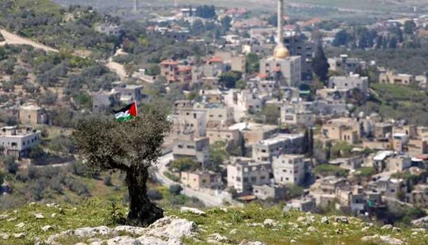 A Palestinian flag hangs on a tree during a protest against Jewish settlements in An-Naqura village