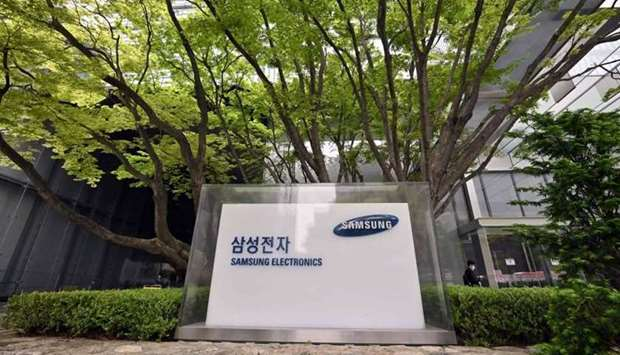The logo of Samsung Electronics is seen at the company's Seocho building in Seoul on April 28, 2021