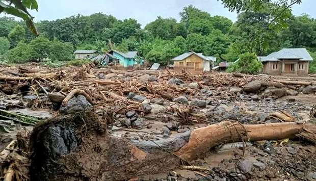 This general view shows debris left behind in the town of Adonara in East Flores on April 4, 2021, a
